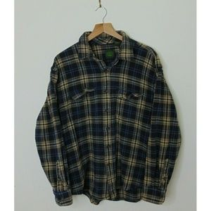 Timberland L Cotton Flannel Shirt Blue Long Sleeve